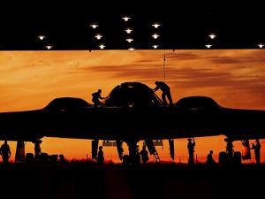 Service Members Undergo Maintenance on a B-2 Spirit