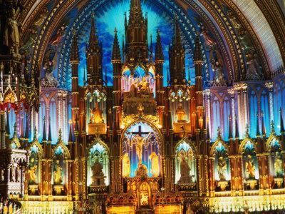 Interior of the Notre Dame Basilica of Vieux Montreal, Montreal, Quebec, Canada