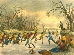 Ball Play on the Ice, 1853 by Seth Eastman