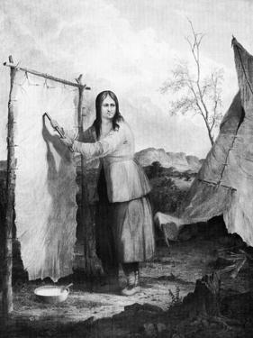 Indian Woman Dressing a Deer Skin, 1868 by Seth Eastman