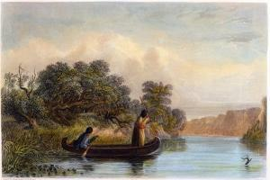 Spearing Fish from a Canoe, 1853 by Seth Eastman
