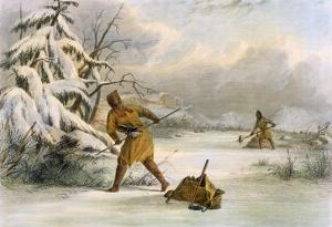 Spearing Muskrats in Winter by Seth Eastman