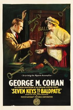 SEVEN KEYS TO BALDPATE, l-r: George M. Cohan, Anna Q. Nilsson on poster art, 1917.