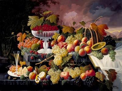 Fruit Still Life in a Landscape, c.1862-72 by Severin Roesen