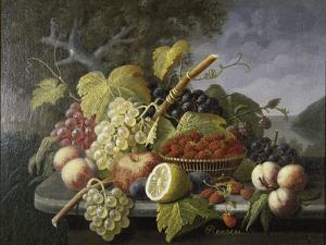 Still Life with Fruit in Landscape by Severin Roesen