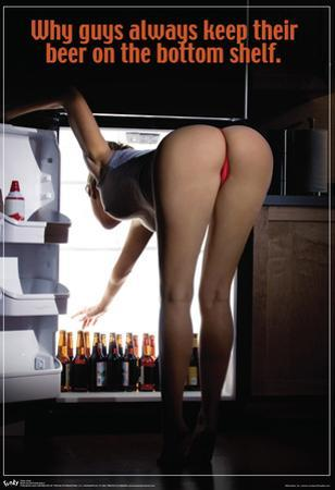 Sexy Girl Bending Over Beer On The Bottom Shelf Poster