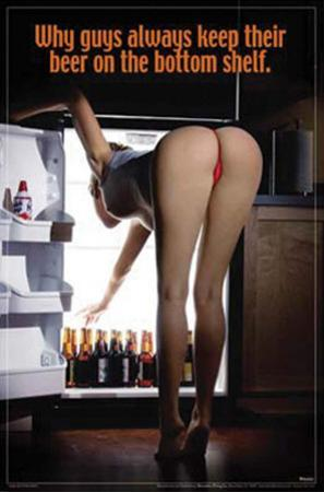 Sexy Girl Bending Over Beer On the Bottom Shelf