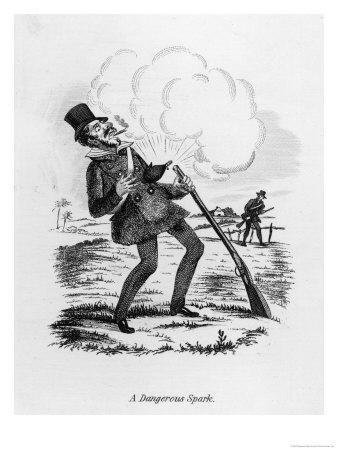 Dangerous Spark, a Man Gets a Shock When His Gunpowder Ignites Unexpectedly