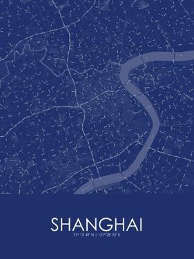 Shanghai, China Blue Map