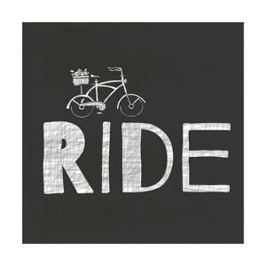 White on Black Tyopography - Ride with Bike by Shanni Welch