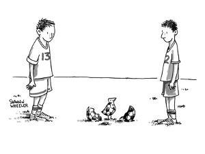 Two boys on a soccer team look down at the ground where a soccer ball patt? - New Yorker Cartoon by Shannon Wheeler