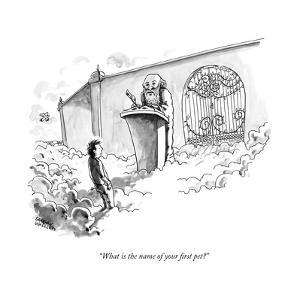 """What is the name of your first pet?"" - New Yorker Cartoon by Shannon Wheeler"