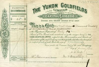 Share Certificate for the Yukon Goldfields