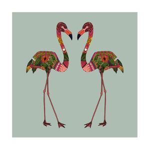 Flamingos Seafoam by Sharon Turner