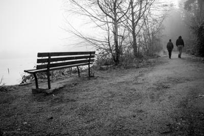 Couple Walking on Path Beside Lake by Sharon Wish