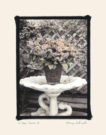 Vintage Flowers II, Still Life with Birdbath