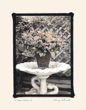 Vintage Flowers II, Still Life with Birdbath by Sharyn Sakimoto