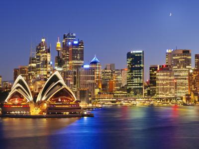 Australia, New South Wales, Sydney, Sydney Opera House, City Skyline at Dusk by Shaun Egan
