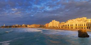 France, Biarritz, Pyrenees-Atlantique, Panorama of Grand Plage at Sunset by Shaun Egan