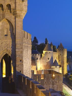 France, Languedoc, Carcassonne, Walled City at Night by Shaun Egan