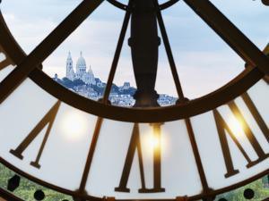 France, Paris, Musee D'Orsay, Giant Ornamental Clock and Basilique Du Sacre Coeur by Shaun Egan