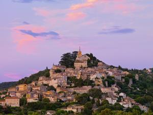 France, Provence, Bonnieux, Hilltop Village at Dusk by Shaun Egan
