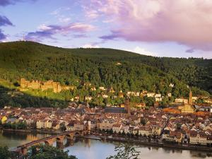 Germany, Bavaria, Heidelberg, Overview of Alte Brucke and the River Neckar by Shaun Egan