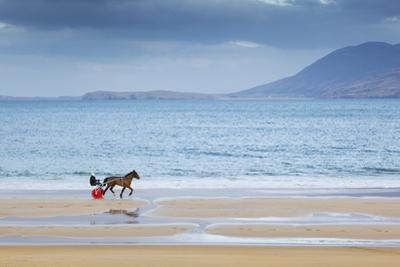 Ireland, Co.Donegal, Fanad, Ballymastoker bay, Man sitting on horse drawn sulky on beach by Shaun Egan