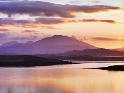 Ireland, Co.Donegal, Mount Errigal and Mulroy bay at sunset by Shaun Egan
