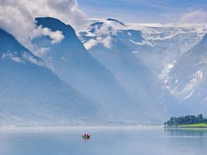 Norway, Western Fjords, Nordfjord, People in Rowing Boat by Shaun Egan