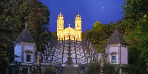 Portugal, Minho Province, Braga, Bom Jesus Do Monte at Night by Shaun Egan