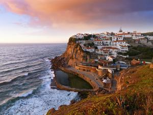 Portugal, Sintra, Azehas Do Mar, Overview of Town at Dusk by Shaun Egan
