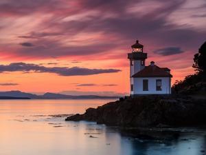 Orange Sunset at Lime Kiln Lighthouse by Shawn/Corinne Severn
