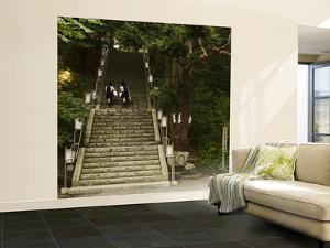 Two School Girls Walking Up Steps at Chitose Shrine by Shayne Hill