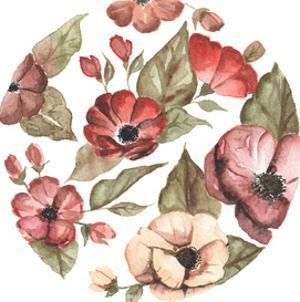 Circular Pink Florals by Shealeen Louise