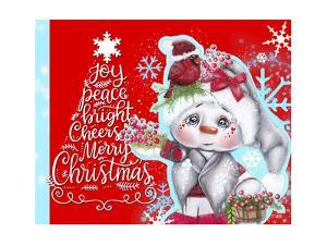 Cardinal Christmas Pal - Snowman - Tree Greeting by Sheena Pike Art And Illustration