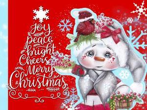 Cardinal Christmas Pal - Snowman - Tree Greeting by Sheena Pike Art And Illustration