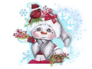 Cardinal Christmas Pal - Snowman by Sheena Pike Art And Illustration