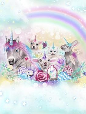 We All Just Want To Be Unicorns - With Rainbow Background by Sheena Pike Art And Illustration