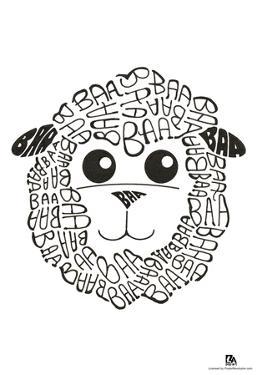 Sheep Baa Text Poster