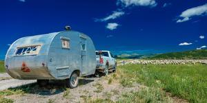 Sheep herder camper to graze sheep on Hastings Mesa near Ridgway, Colorado from truck