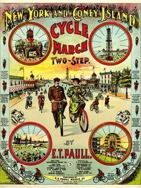 """Sheet Music Covers: """"New York and Coney Island Cycle March Two-Step"""" Music"""