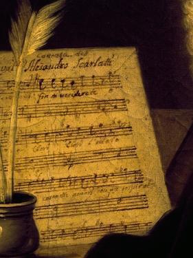 Sheet Music of the Sonata Fin Che M'Ucciderete, Detail from a Portrait of Alessandro Scarlatti