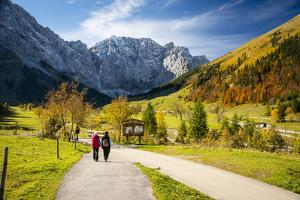 A Couple Strolling in the Alps, Holding Hands in the Fall by Sheila Haddad