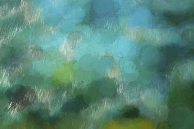 Abstract of a waterfall in greens by Sheila Haddad