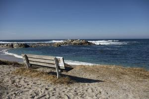 Bench on Beach with Waves, Monterey Peninsula, California Coast by Sheila Haddad