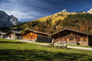 Cabins High in the Austrian Alps Fall Colors by Sheila Haddad