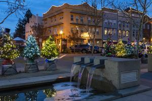 Christmas decorations on the main street of Windsor, California by Sheila Haddad