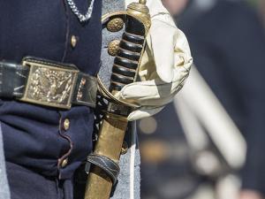 Civil War Soldier Wearing Sword by Sheila Haddad