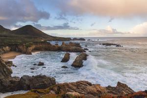 Crashing waves at sunrise along the coast of Big Sur, California by Sheila Haddad